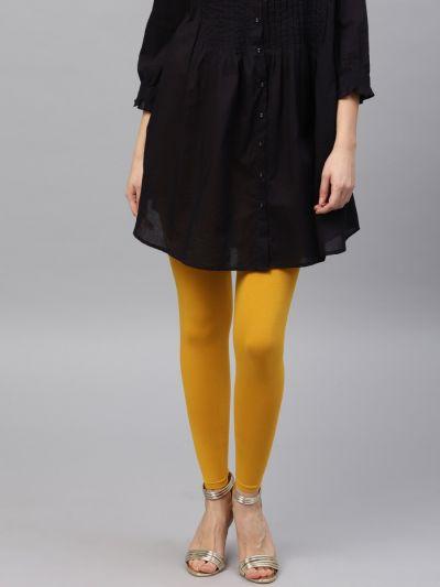 Modish Mustard Cotton Lycra Solid Legging