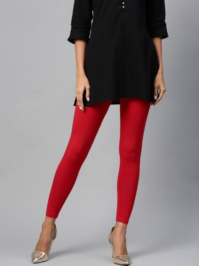 Attractive Red Cotton Solid Ankle Length Legging