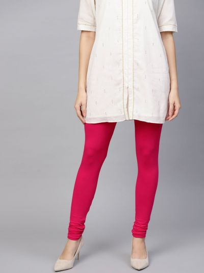 Dazzling Fuschia Cotton Lycra Solid Legging