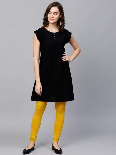 Dazzling Mustard Cotton Lycra Solid Legging