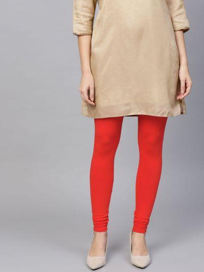 Dazzling Red Cotton Lycra Solid Legging