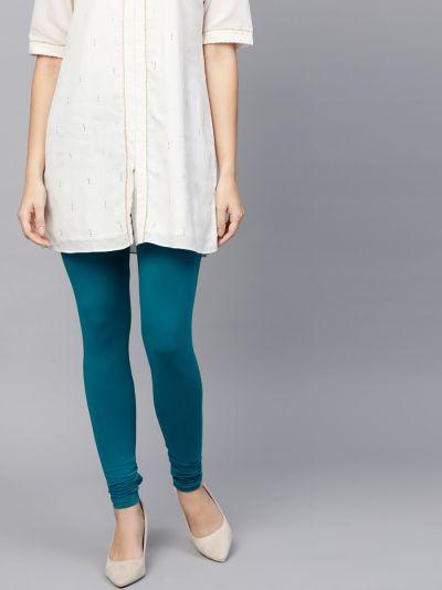 Dazzling Teal Cotton Lycra Solid Legging