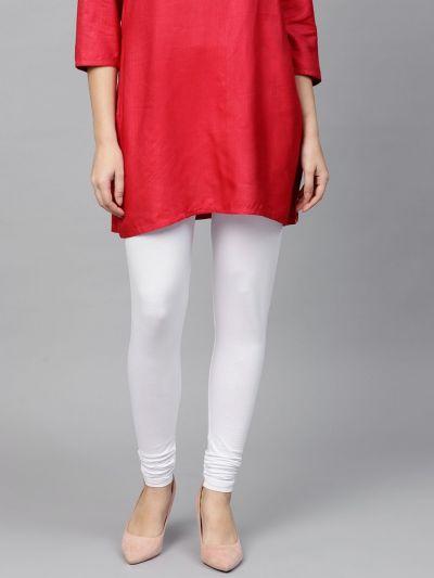 Dazzling White Cotton Lycra Solid Legging