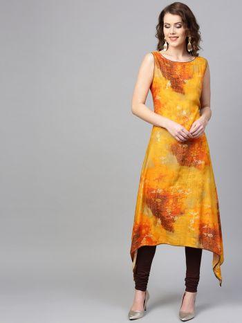 Women Yellow Rayon Abstract Kurta