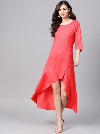 Eye Catching Pink Rayon Solid Dress