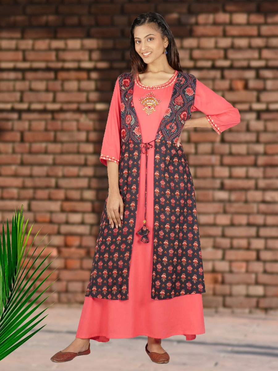 Long Printed Ethnic Dress Design Featuring a Jacket