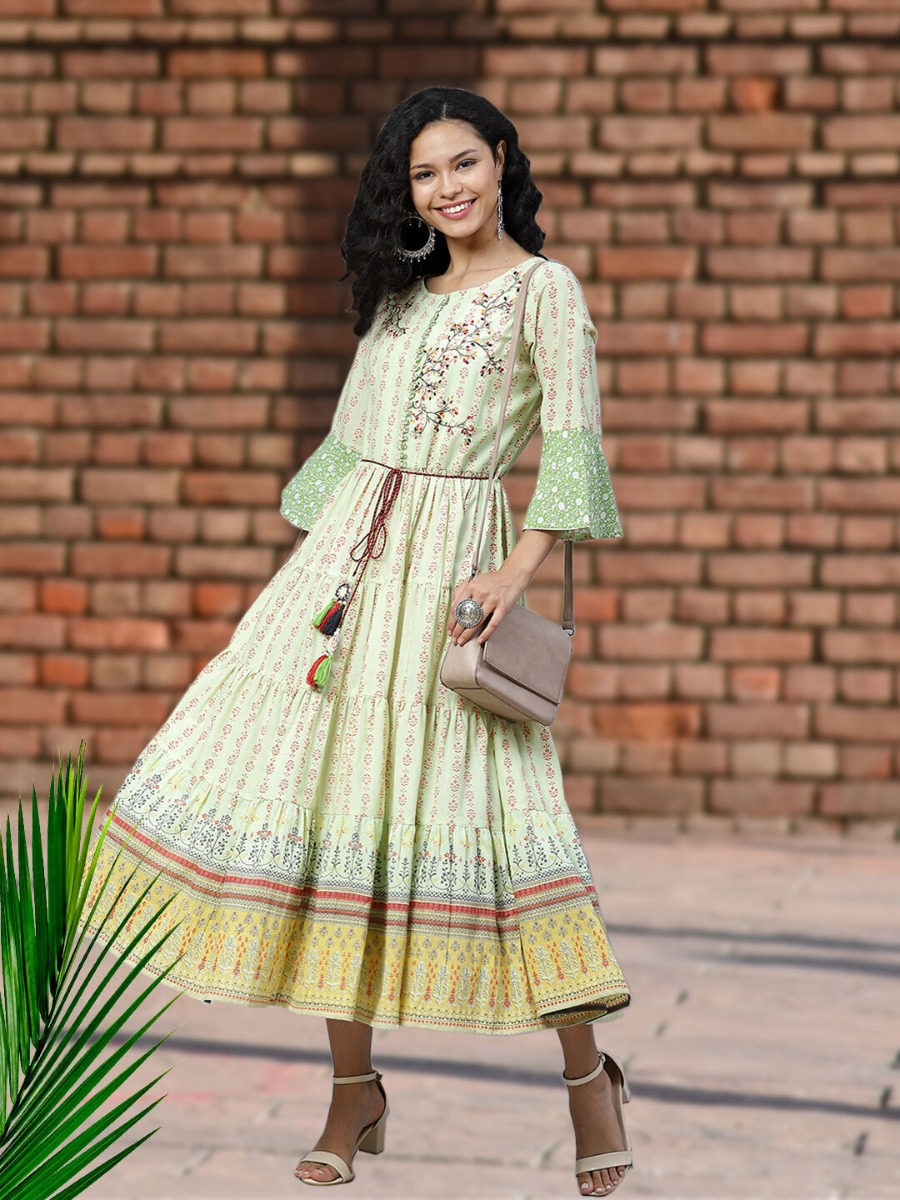 Long Printed Ethnic Dress Design with Dori for Casual Outings