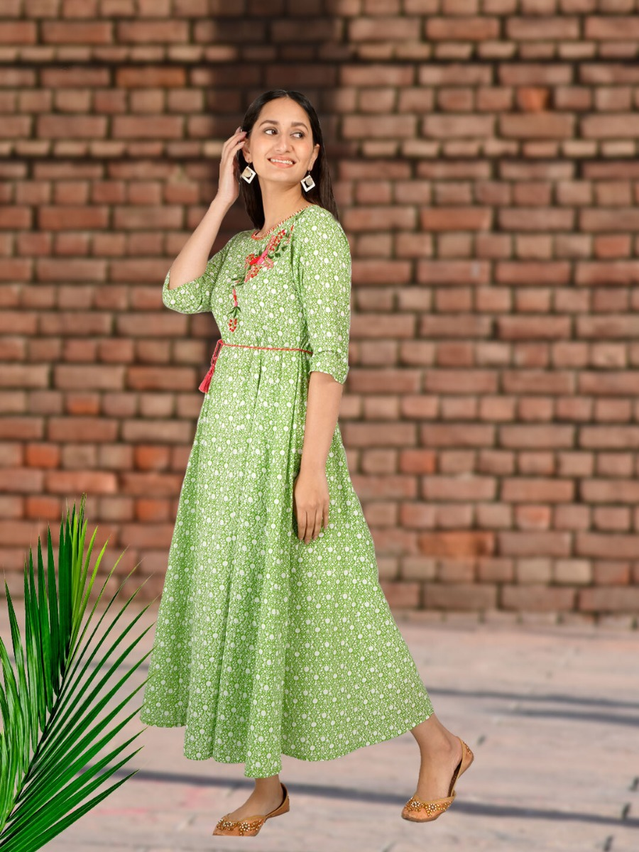 Long Printed Ethnic Dress Design with Embroidery