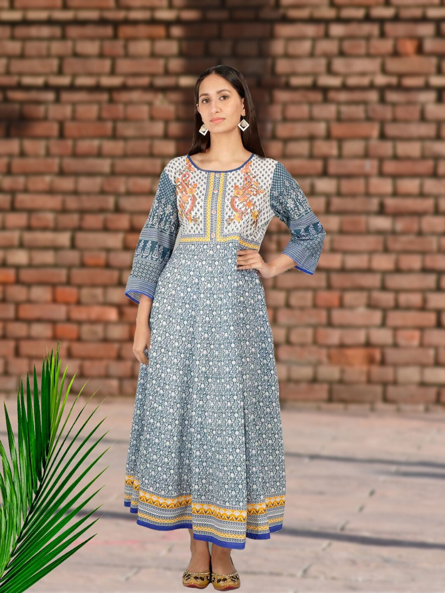 Long Printed Ethnic Dress Design for College/Office Wear