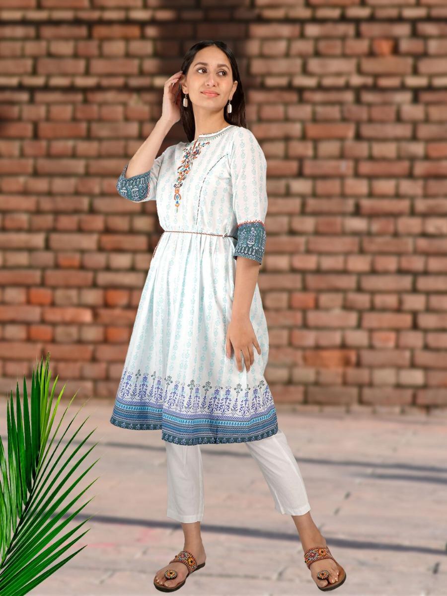 Long Printed Ethnic Dress Design in White