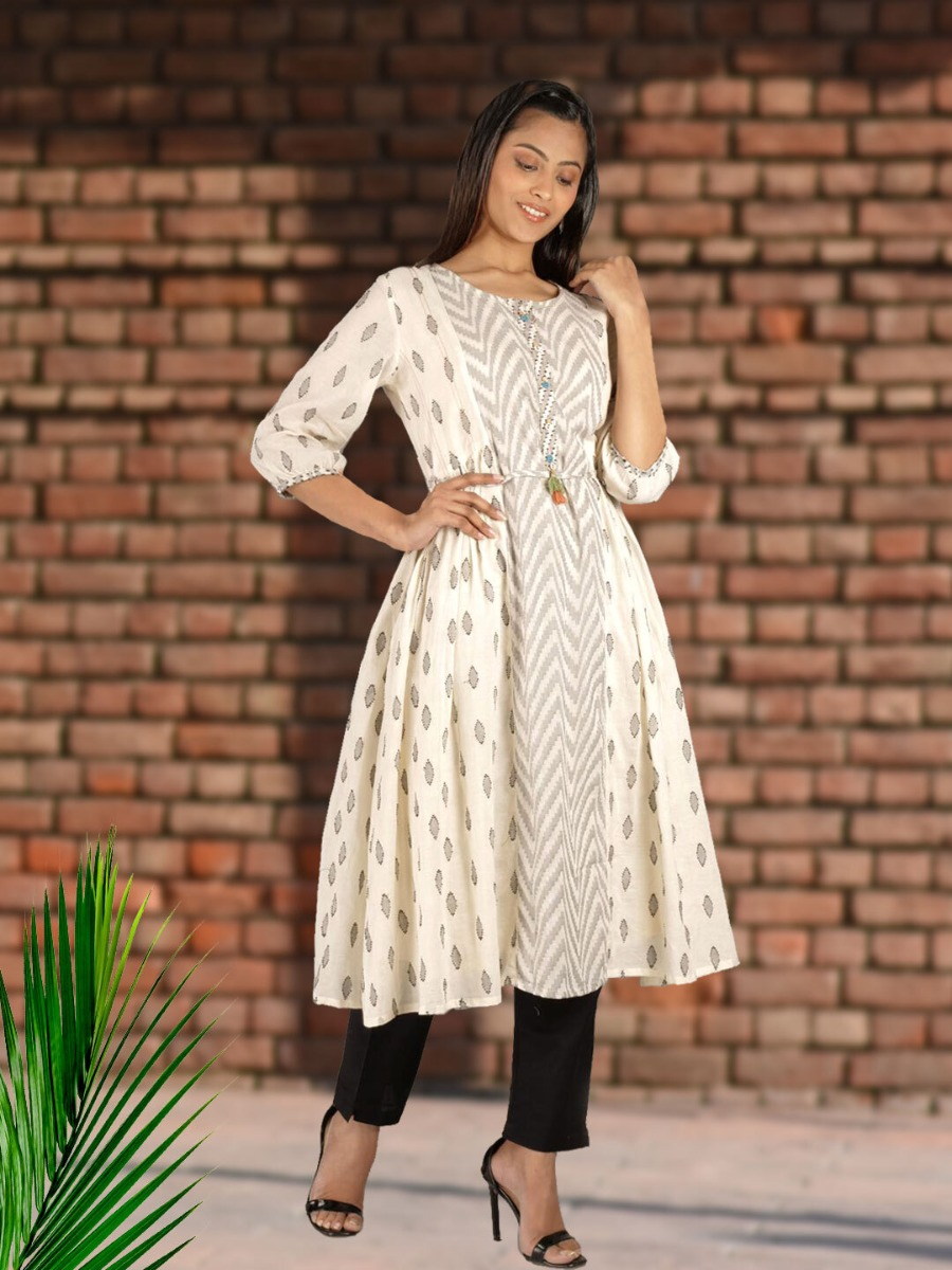 Long Printed Frock-Style Ethnic Dress Design with Tie-Up