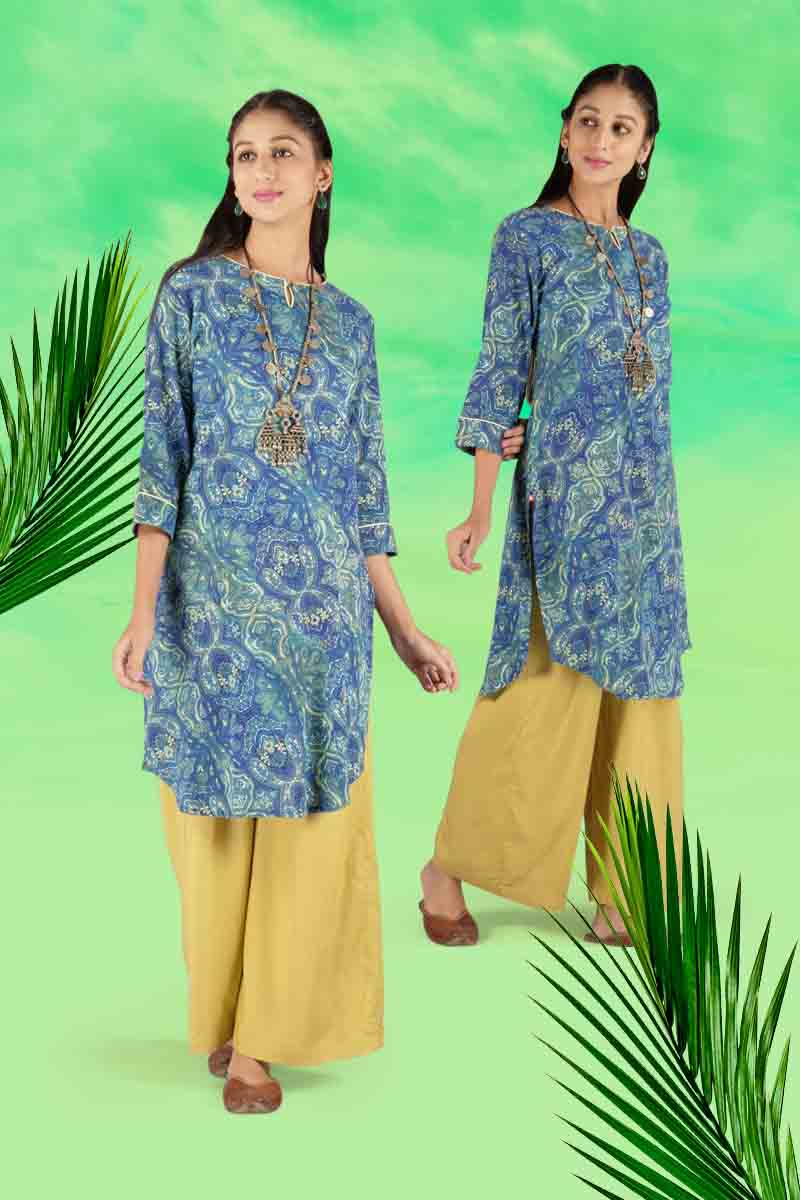 Look Chic in an Indigo Blue Trendy wala Kurta